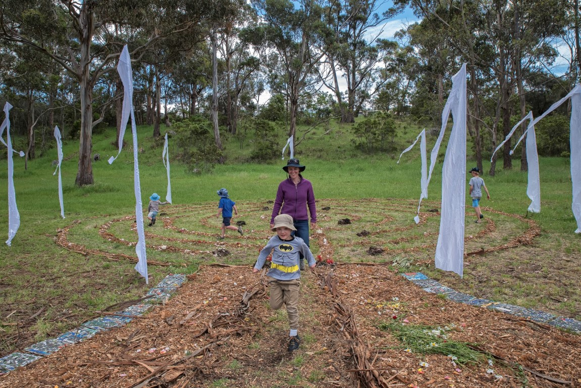 Ephemeral labyrinth on 19 Nov 2016 at Taroona Art Trail
